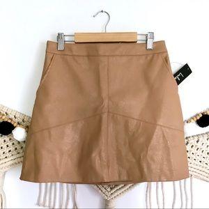 NWT LULU'S Harley Camel Faux Leather Mini Skirt